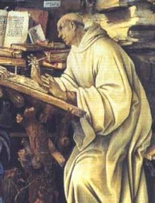Representation of St. Bernard in his office, sitting at his desk with a pen in his right hand. In the background, many books. His gaze lifted from the book, is lost in a distant point, outside the scene.